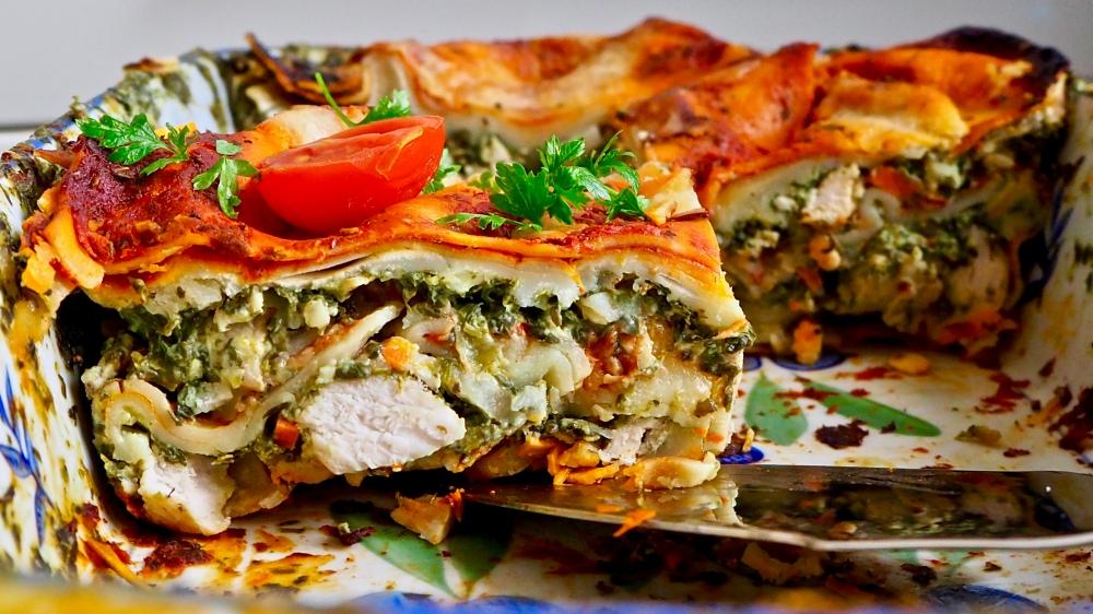 Lasagne Z Szpinakiem Kurczakiem I Prazonym Slonecznikiem Indulge